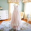 2015 Зима Аппликации Кружева Розовые Свадебные Платья Плюс Размер Платья Невесты Элегантный Милая Сад Свадебные Платья H-062