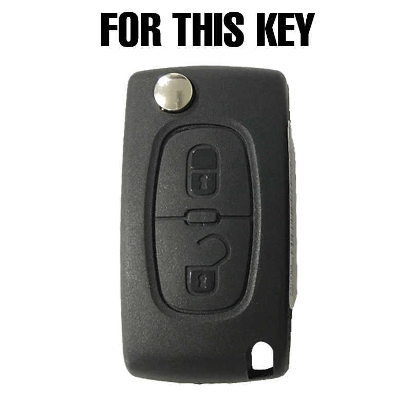 2 زر سيليكون سيارة حافظة مفتاح السيارة عن بعد فوب لبيجو 308 207 307 807 لسيتروين C3 بيكاسو C-Crosser C4 Dispatch C8