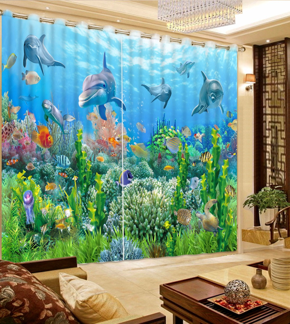 Customize 3d Stereoscopic Kitchen Curtains Short Sea World Dolphin Curtains Luxury Curtains For Living Room European Style