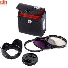 5in1 49mm 52mm 55mm 58mm 62mm 67mm 72mm 77mm UV CPL FLD set di filtri KIT + Lens Hood + Lens lens cover Per Sony Pentax Nikon Canon