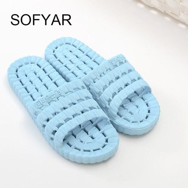 b24c85dd0e9d0a Bath room slipper women men slides flat with sofe new household slippers  seasons shower is leaking slippers for men and women