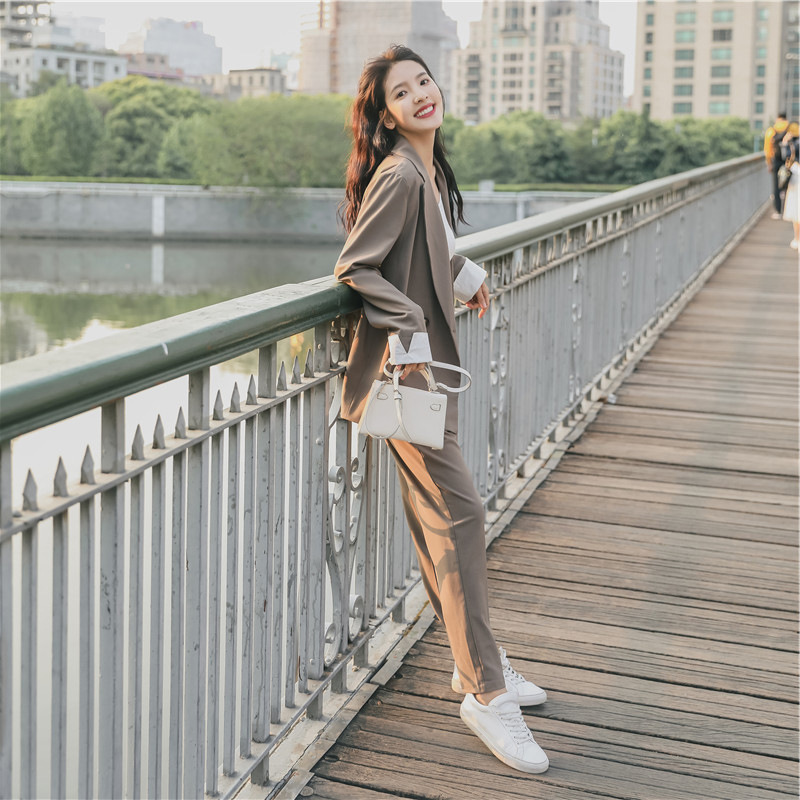 Women's suits female spring 2019 new temperament small suit casual pants two sets of solid color wild loose fashion clothes