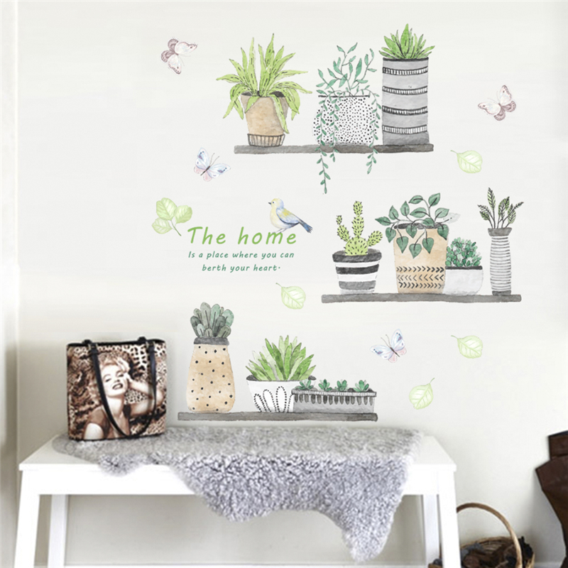 creative plant bonsai flower butterfly wall stickers for kids rooms kitchen home decor pvc wall decals diy mural art wallpaper