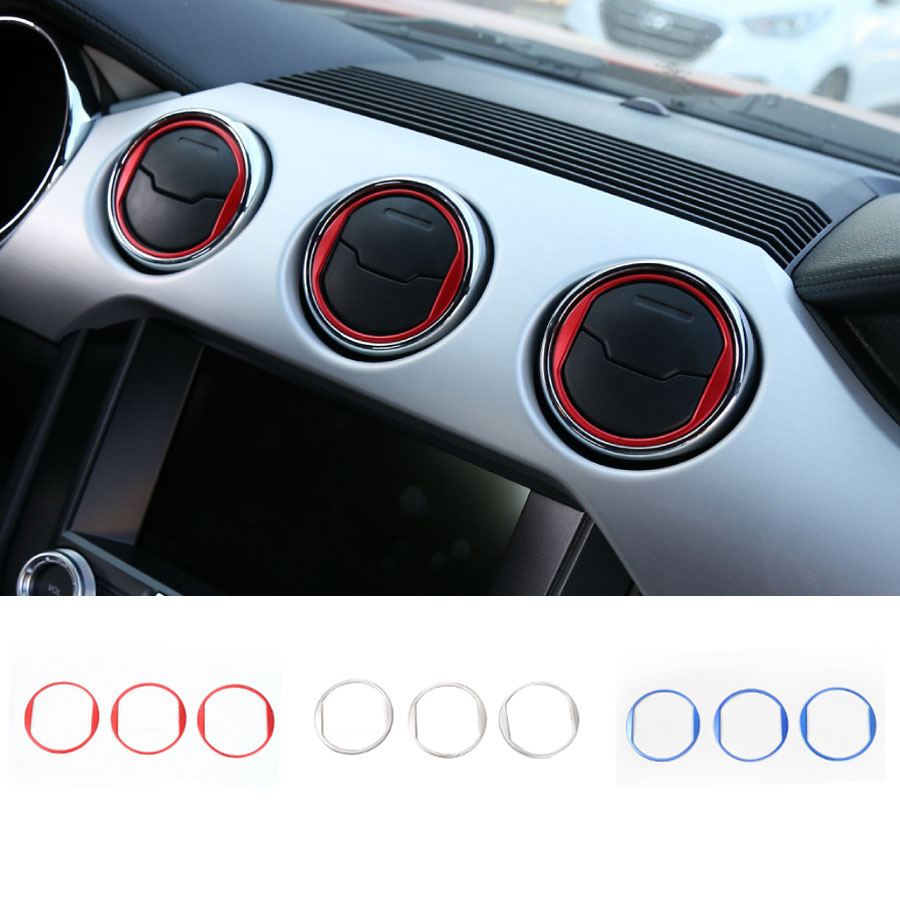 Car-Styling 3Pcs/Set Newest Dashboard Air Vent Outlet Ring Cover Interior Trims Aluminum Sticker For Ford Mustang 2015 Up New 4pcs set window visor vent shade sun rain deflector guard shield for lexus nx nx200t nx300h 2015 car styling