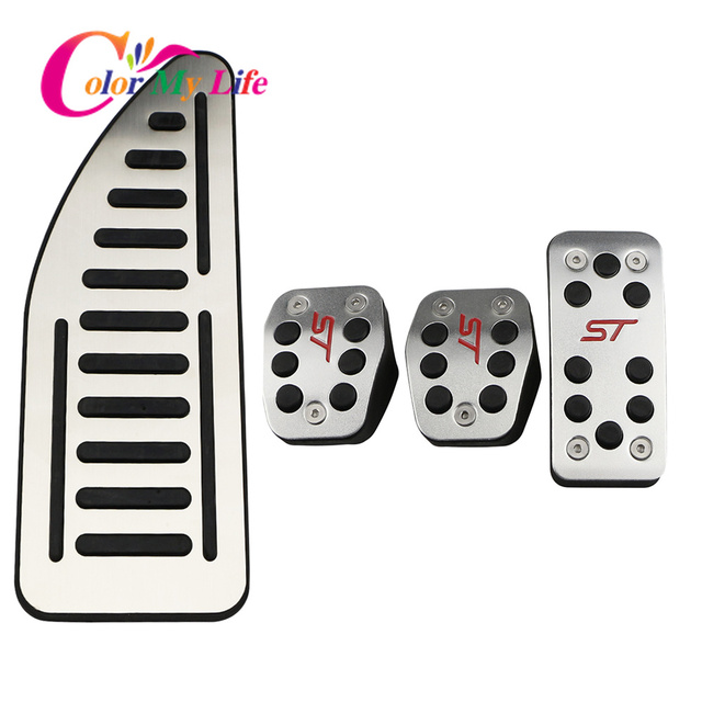 Color My Life Car Gas Fuel Pedal Set Brake Pedals Rest Foot Pedal Covers for Ford Focus 2 3 4 MK2 MK3 MK4 RS ST Kuga Escape