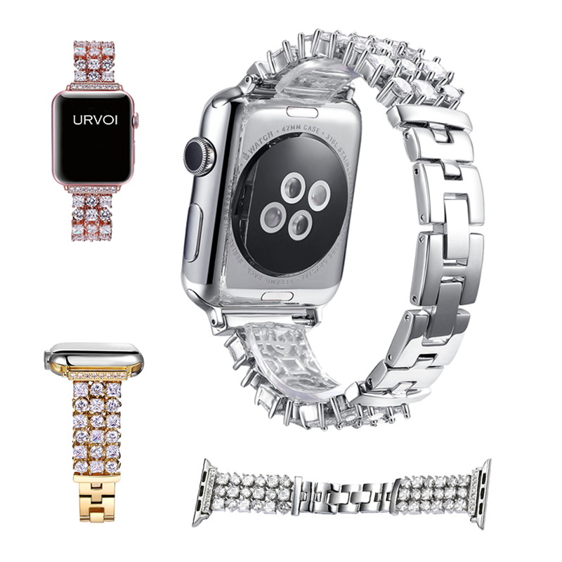 URVOI band for apple watch 1 2 wrist stainless steel link bracelet strap for iWatch Luxury Glitter zirconia rhinestone-studded titanium steel link cubic zirconia studded couple bracelet