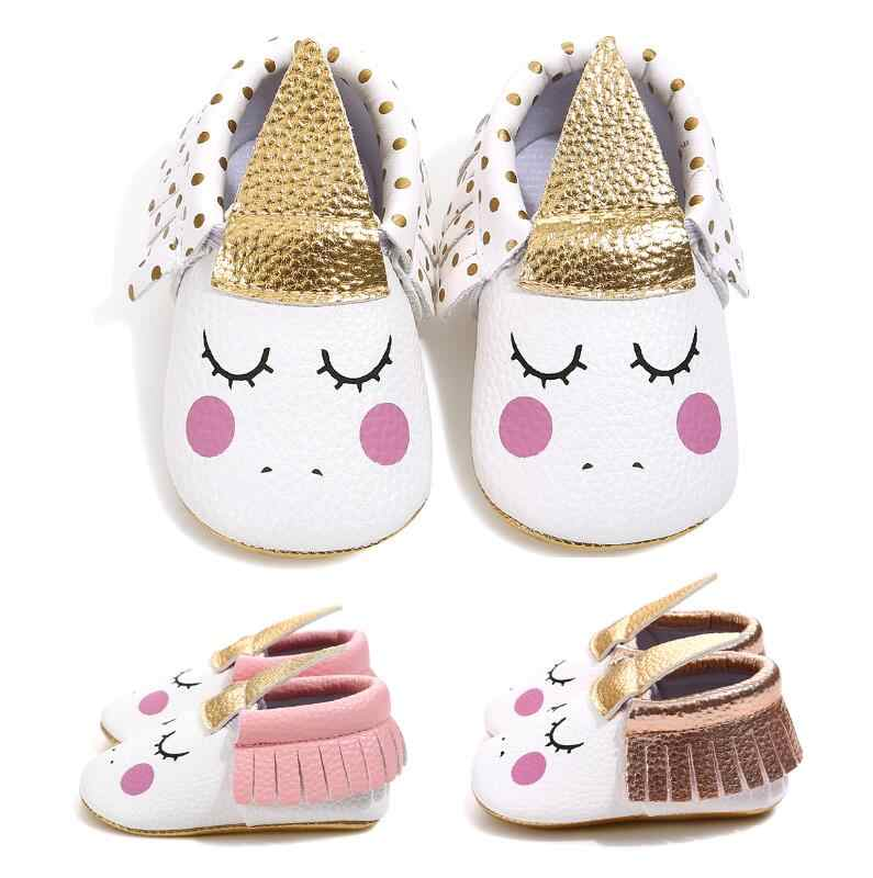 0f4045959d New Unicorn baby shoes PU leather gold soft sole baby brand shoes fringe  baby moccasins Newborn first walker party shoes