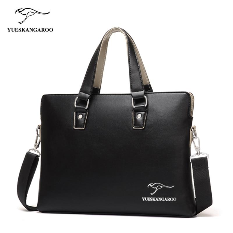 YUESKANGARO New Brand Men Bag Leather Handbags Men's Casual business Briefcase Shoulder Bag for Men Tote Male Brown Black bolsa