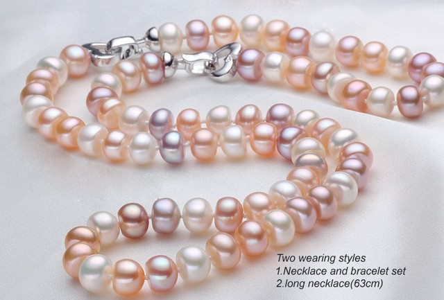 [MeiBaPJ]8-9mm Natural Freshwater Pearl Beads Jewelry Set With 925 Sterling Silver Clasp Women's Birthday Gift Wedding Jewelry