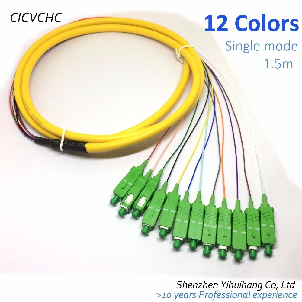 2pcs 12Core Cable with SC/APC -G652D-PVC-Yellow-1.5m / Optical Fiber Pigtail
