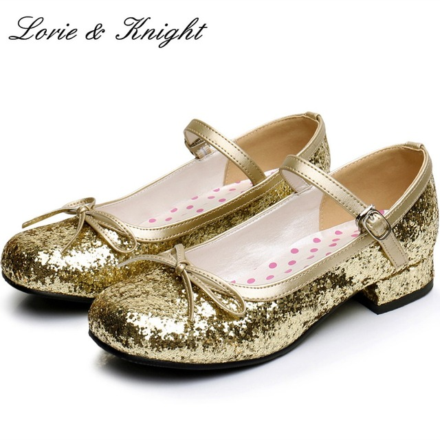 b1d7119b6ed Homecoming Sweet Girl Comfortable Round Toe Square Low Heel Shiny Gold Mary  Jane Ballet Shoes Princess Lolita back to school