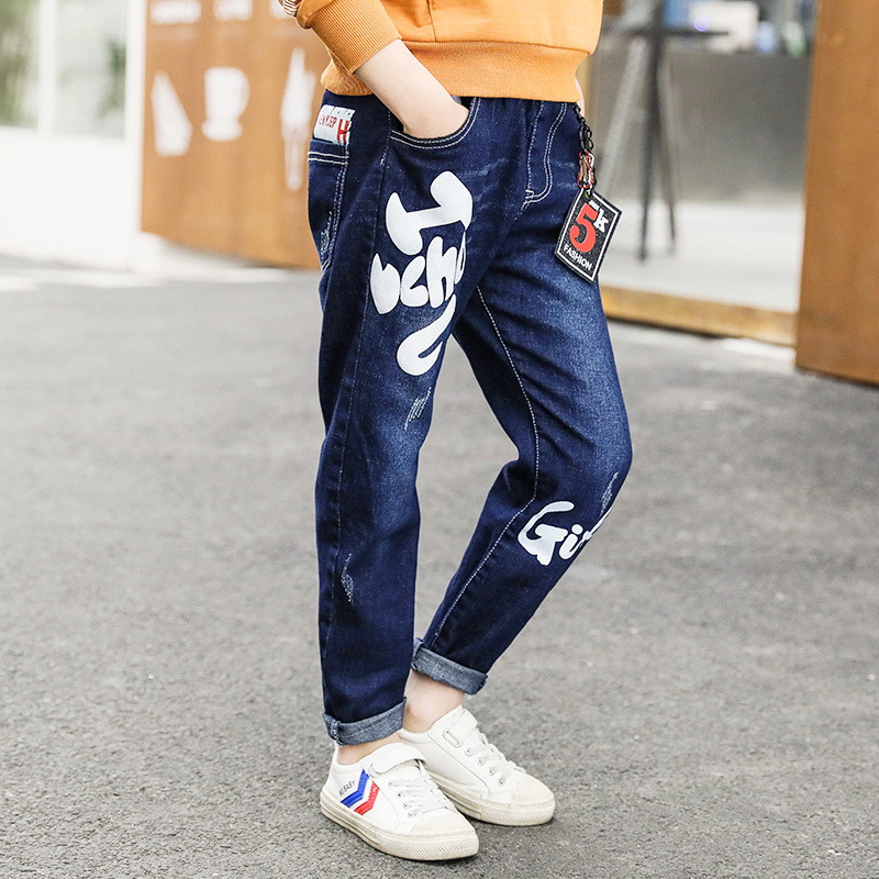 2018 New Fashion Boy Pant Jeans Trousers Elastic Waist Kids Jeans Pant Autumn Long Print Denim Pant Teenager Fashion Trousers 12 fkz hot jeans women ankle length straight mid waist jeans fashion lady ripped loose fashion embroidery designer trousers gnjp018