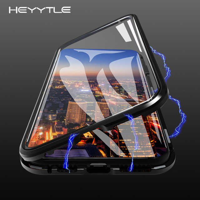 Heyytle Magnetic Metal Case For iPhone XS MAX X XR 8 7 6 6S Plus Case Double Sided Tempered Glass Magnet 7Plus Case Cover Coque