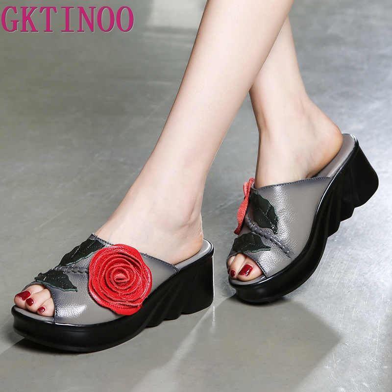 GKTINOO Flower Slippers Genuine Leather Shoes Handmade Slides Flip Flop Open Toe Platform Clogs For Women