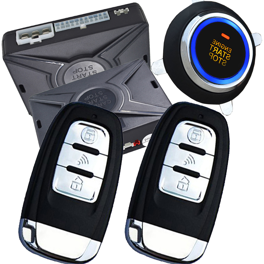 remote engine start car alarm system PKE car alarm RFID smart key lock or unlock automatically remote start push start button easyguard pke car alarm system remote engine start