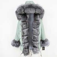 2019 Long Parkas Real Fur Parka Winter Jacket Coat Women Natural Silver Fox Fur Trim Hood Thick Warm Streetwear Detachable New