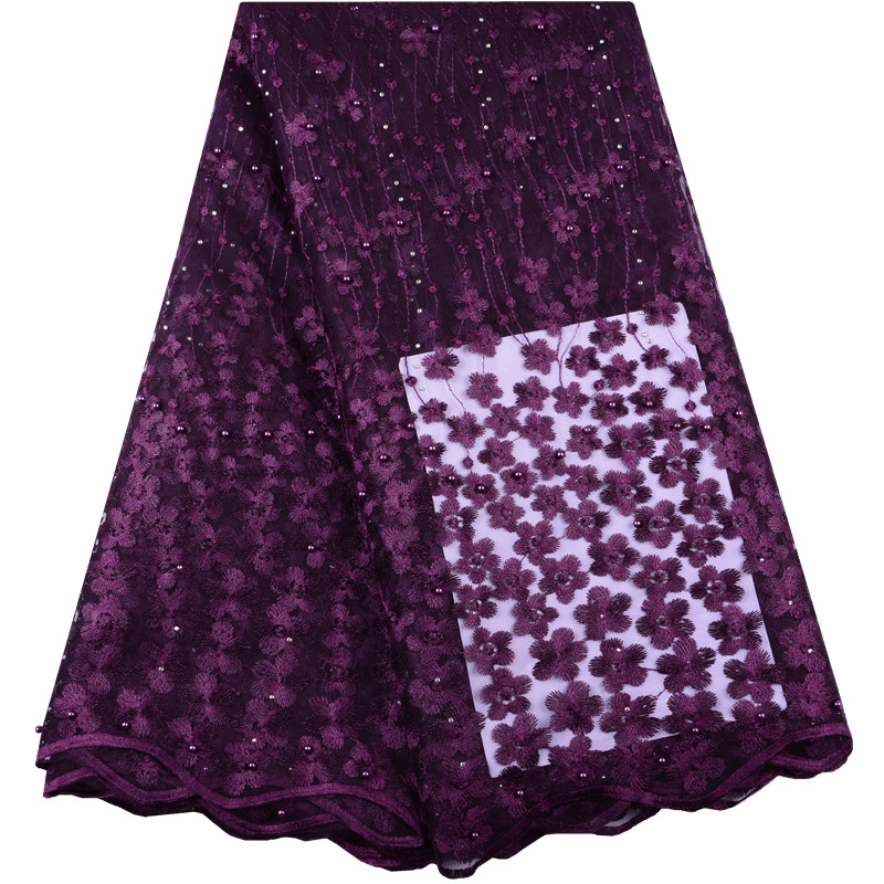 Embroidered Tulle Lace Fabric Pearls Lace Applique Fabric For Wedding Magenta Color African Beaded Lace Fabric