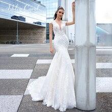 אשלי קרול תחרת בת ים 2020 סקסי V מחשוף הכלה שמלות יוקרה ואגלי פרחים ללא משענת רומנטית כלה שמלות