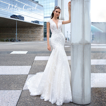 Ashley Carol Lace Mermaid Wedding Dress 2020 Sexy V Neckline Bride Dresses Luxury Beading Flowers Backless Romantic Bridal Gowns