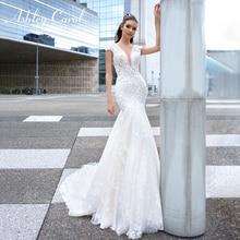Ashley carol laço sereia vestido de casamento 2020 sexy v decote vestidos de noiva luxo miçangas flores sem costas romântico vestidos de noiva