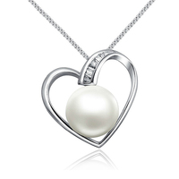 Sinya Love Heart Charm Pendant Fashion Necklace In 925 Sterling Silver With 9 10mm Natural Pearl