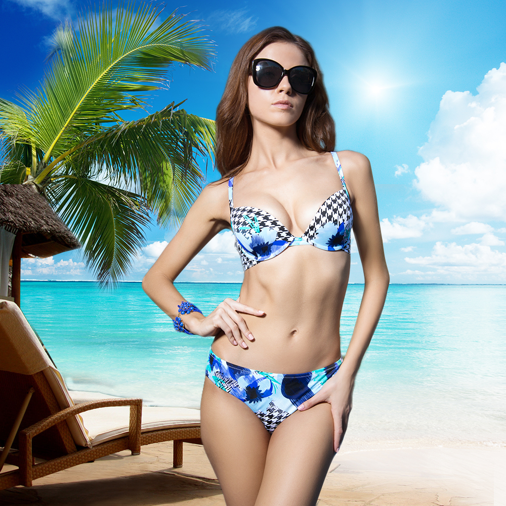 New Year Gift Bikinis for Women Summer 84%nylon 16% elastan 3/4 Cup Bralette and Sexy Green Print Ladies Underwear Free shipping