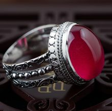 Red corundum ring S925 silver inlaid silver antique crafts handmade jewelry style simple female models