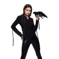 2019 Gothic Punk Women Hoodies Lace up Hooded Long Sleeve Casual Harajuku Darkness Autumn winter Goth Black Sweatshirt Plus Size
