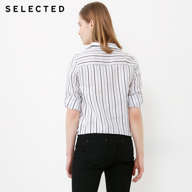 SELECTED Women's Roll-up Sleeves Striped Turn-down Collar Long-sleeved Shirt S|418205506 3