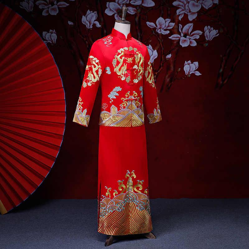 Шоу Мужская одежда pratensis китайский стиль свадебное платье красная вышивка жениха вечернее длинное платье кимоно куртка Тан костюм