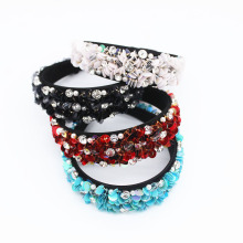 Baroque Geometric Head Band Sequins Hairband Pearl Hairpins for Wedding Bride Rhinestone Crystal Luxury Blue Fascinator