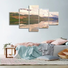 Laeacco Canvas Calligraphy Painting 5 Panel Outside Poster Print Natural Landscape Wall Art Nordic Home Living Room Decoration цена