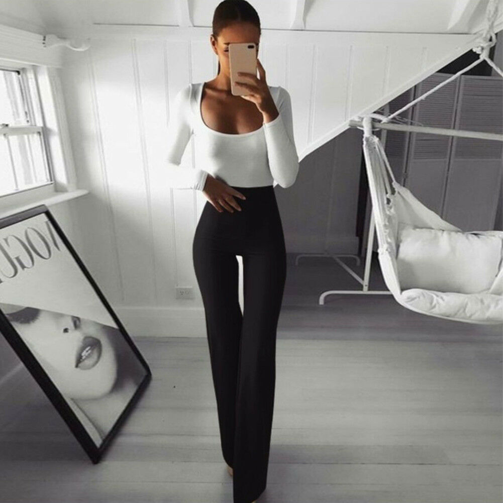 Hirigin High Waist Women Solid   Wide     Leg     Pants   Full Length Workwear Flare   Pants   Elastic Bell-Bottom Trousers Pantalon Femme
