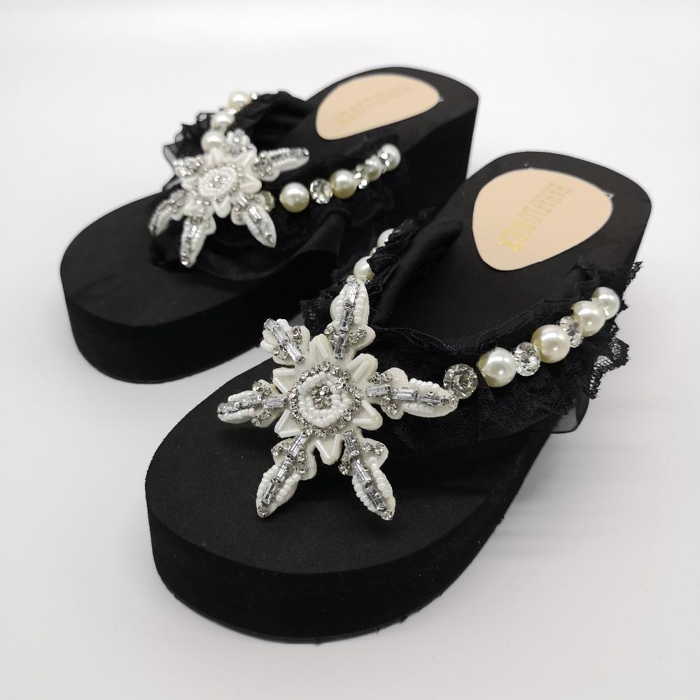 2019, zapatillas de playa de verano para mujer, sandalias de flores con perlas brillantes, chanclas para el hogar, zapatos casuales, envío gratis - 4