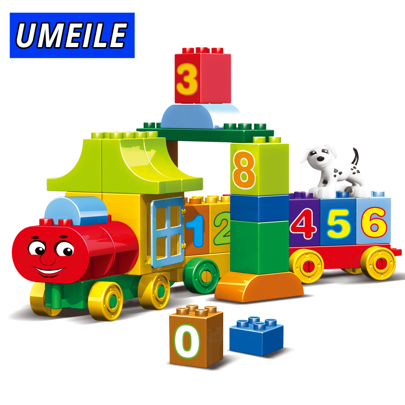 UMEILE 50PCS City Train Building Block Friends Number Figure Diy Brick Set Educational Baby Toys Compatible With Duplo Gift umeile original classic city engineering ladder truck fire engine model car block kids educational toys compatible with duplo