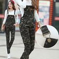 100 Algodón de Camuflaje Overol de Mezclilla de Las Mujeres Overol Pantalones de Mezclilla Mono Delgado mujeres Fit Tamaño S-XXL