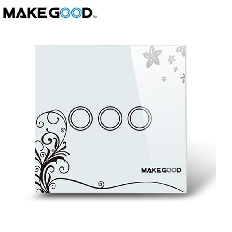 MakeGood UK Standard Smart Home Crystal Glass Cover Touch Screen Wall Switch 3 Gang 1 Way, 86*86mm,AC 110-250V/1000W for Light makegood uk standard 2 gang 1 way smart touch switch crystal glass panel wall switch ac 110 250v 1000w for light led indicator