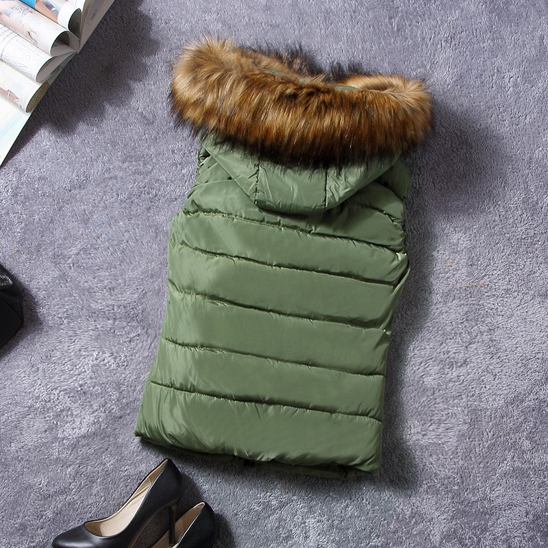 down vest with fur 0W0125 green-1