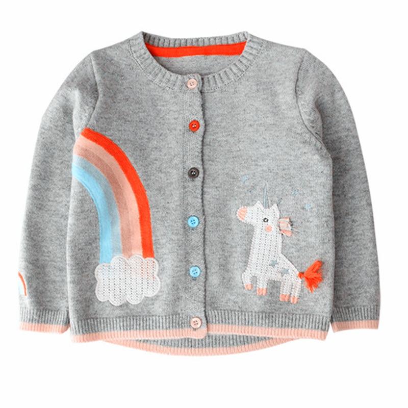 Baby Girls Cardigan Sweater Cute Cartoon Unicorn Sweater For Girl Fashion Long Sleeve Kids Cardigans Children's Clothing 2-7 Yrs