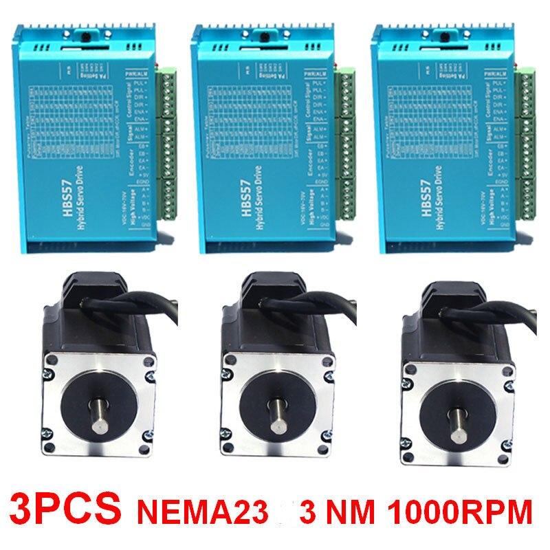 3 pcs 3Nm NEMA23 57mm DC24-60V Closed loop Hybird Stepper Encoder Do Motor & Kit de Unidade Servo Fácil para CNC máquina de Gravura Do moinho