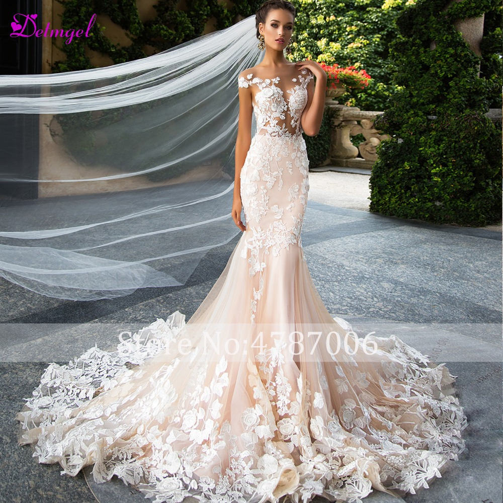 Detmgel New Design Sexy Backless Scoop Neck Mermaid Wedding Dress 2019 Cap Sleeve Appliques Princess Bride Gown Vestido de Noiva