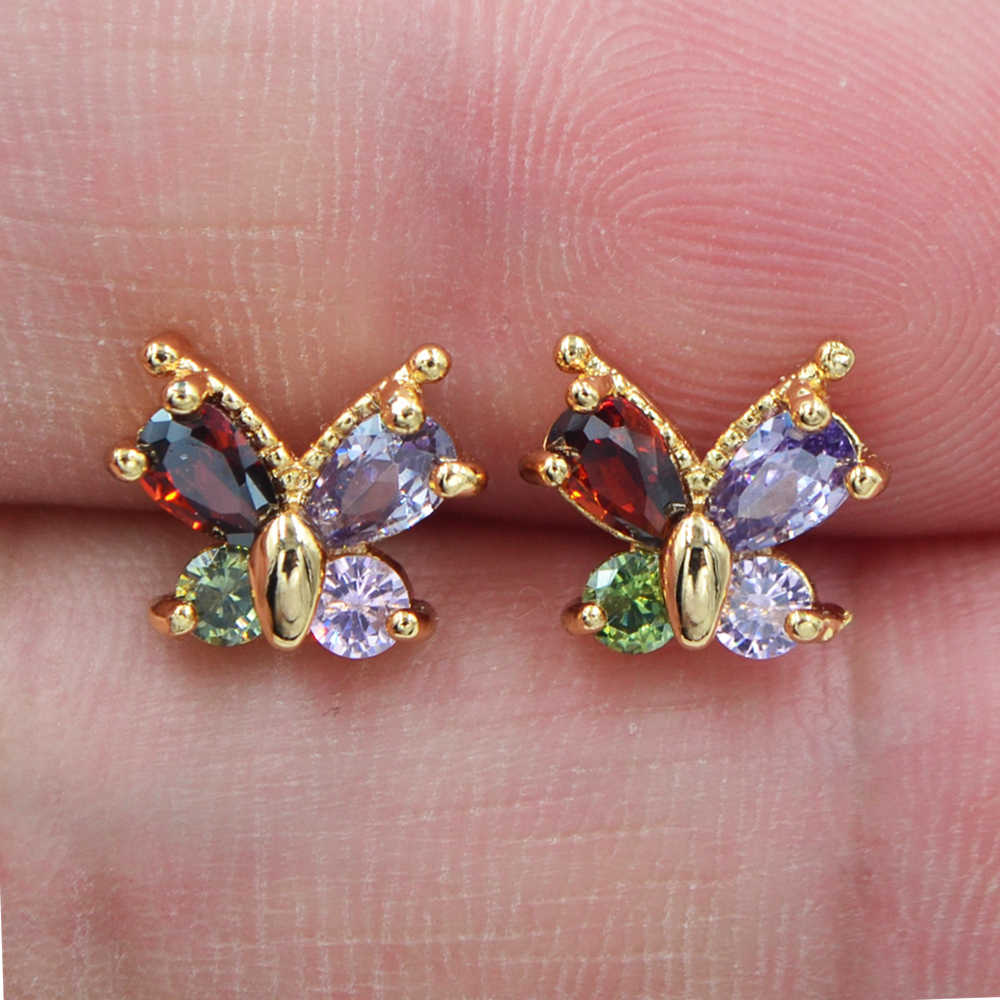 Fashion Gold Color AAA+ Cubic Zirconia Multicolor CZ Cute Butterfly Stud Earrings for Women