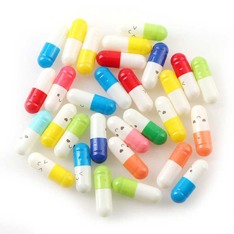 100 Pcs/lot Love Blank Message Capsule Envelope Letter Paper Kawaii Emoticon Smile Pill For Children Pill Capsule Message Letter