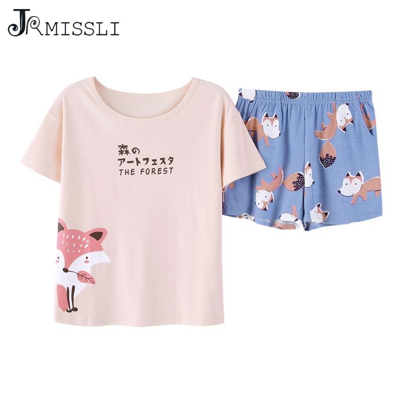 JRMISSLI Letter Female   Pajamas     Set   Sleepwear Women Cotton Pyjamas Suit Nightwear M L XL XXL BS2038
