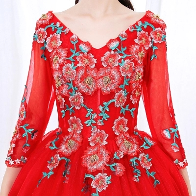 freeship red folk embroidery cosplay ball gown Medieval Renaissance Gown cosplay Victoria dress Marie Belle