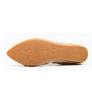 Image 5 - Beyarnebutterflyノットポインテッドトゥレディース靴フラッツ新ストリングビーズカジュアルバレエシューズプラスサイズ 45 scarpeドナ女性