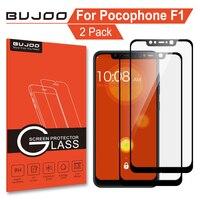 Pacote 100% Original BUJOO 2 2.5D 9 H Cobertura Completa Protetor de Tela de Vidro Temperado Para Xiaomi Pocophone F1 Xiomi Poco f1 Filme