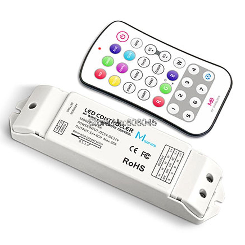 M8+M4-5A RGBW LED Controller M8 RF Wireless Button Remote +DC5-24V 20A 5A*4CH Receiving Controller for 5050 RGBW RGBWW LED Strip m3 m4 5a m3 touch rf remote with m4 5a cv receiver led dimmer controller dc5v dc24v input 5a 4ch max 20a output