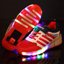 Colorful LED Flashing Single Roller Skates Shoes for Kids Boy Girl Roller Skates Pulley LED Heelys Sneakers Child Gift(China)