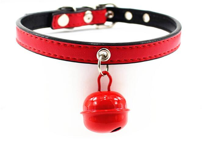 On sale pet dog cat fashion PU leather collar with bell supplies dogs cats candy color collars products pets accessories 10pcs